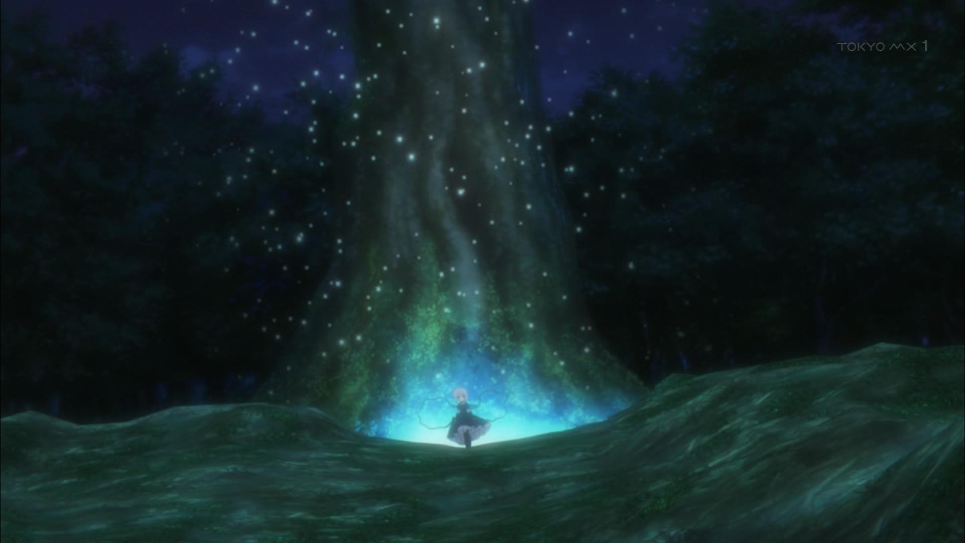 篝と大きな木
