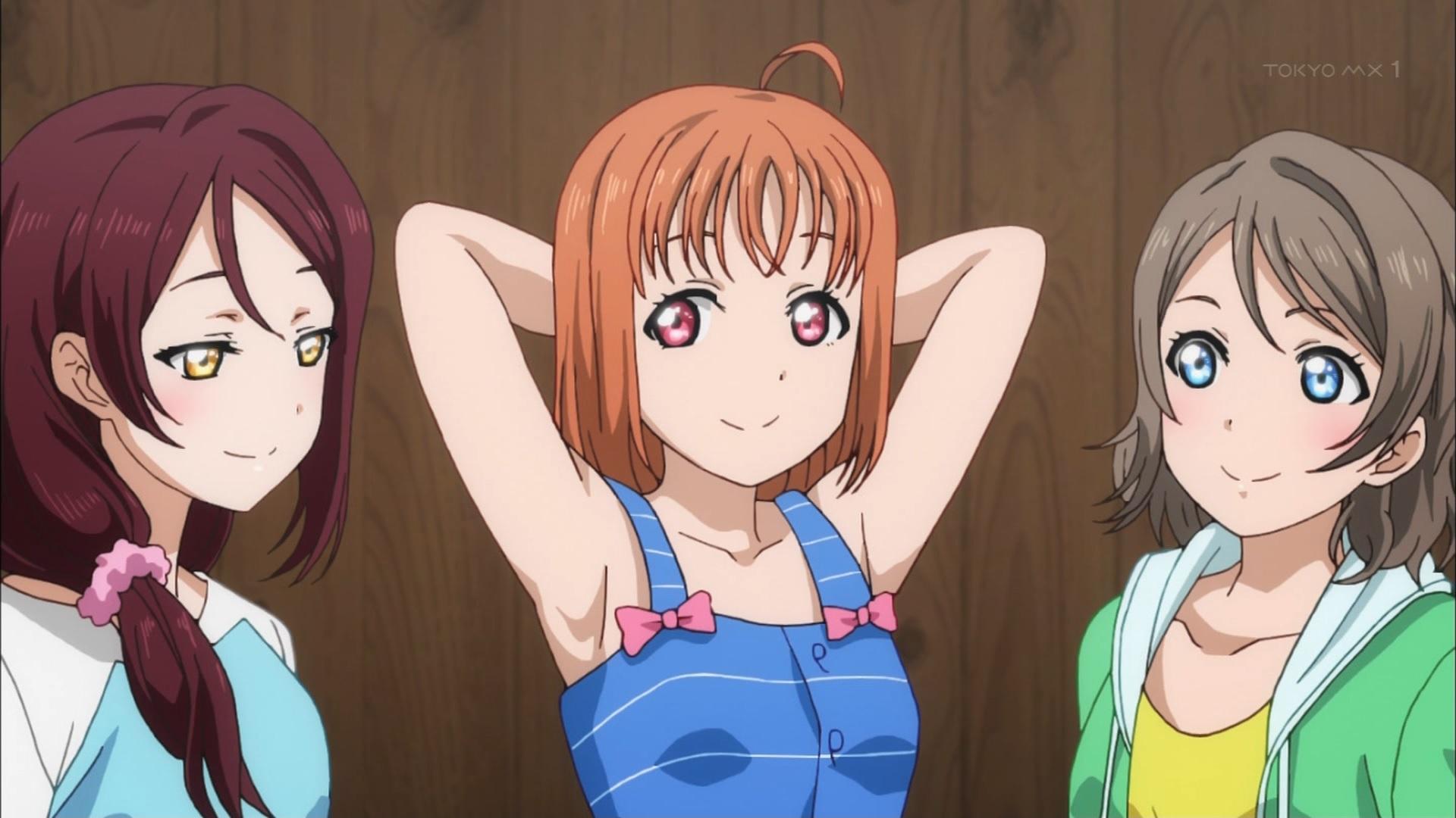 髪型が違う梨子と曜と千歌の腋(脇)