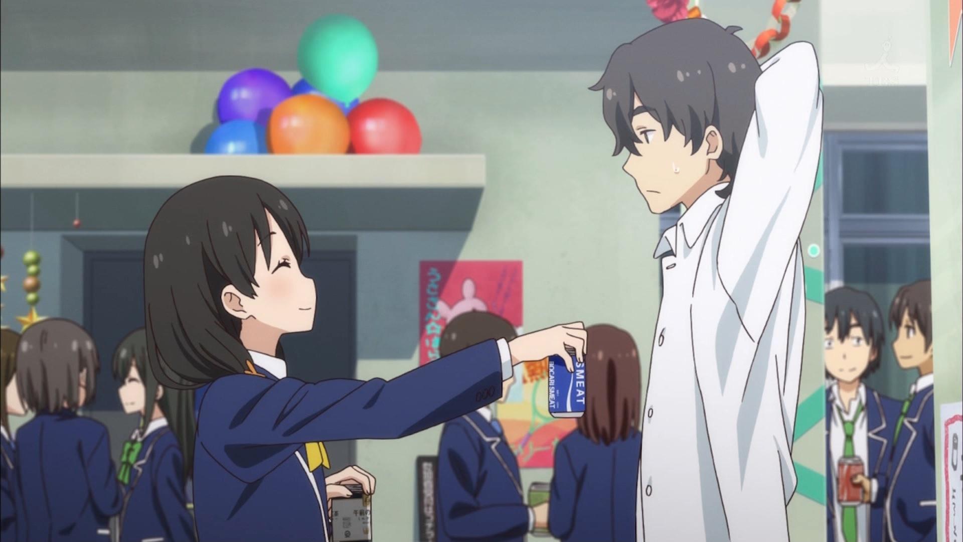 女の子からジュースを貰う部長