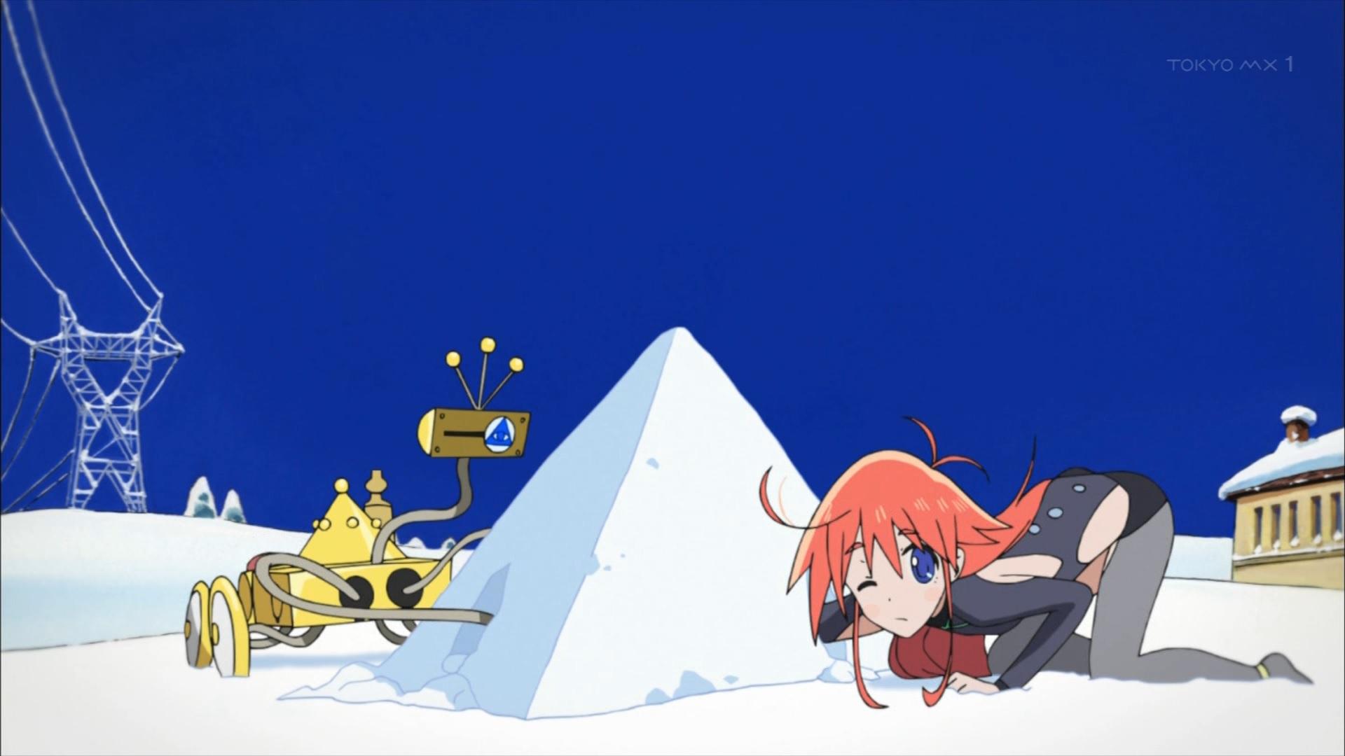 雪遊びをするパピカとTT-392(第1話)