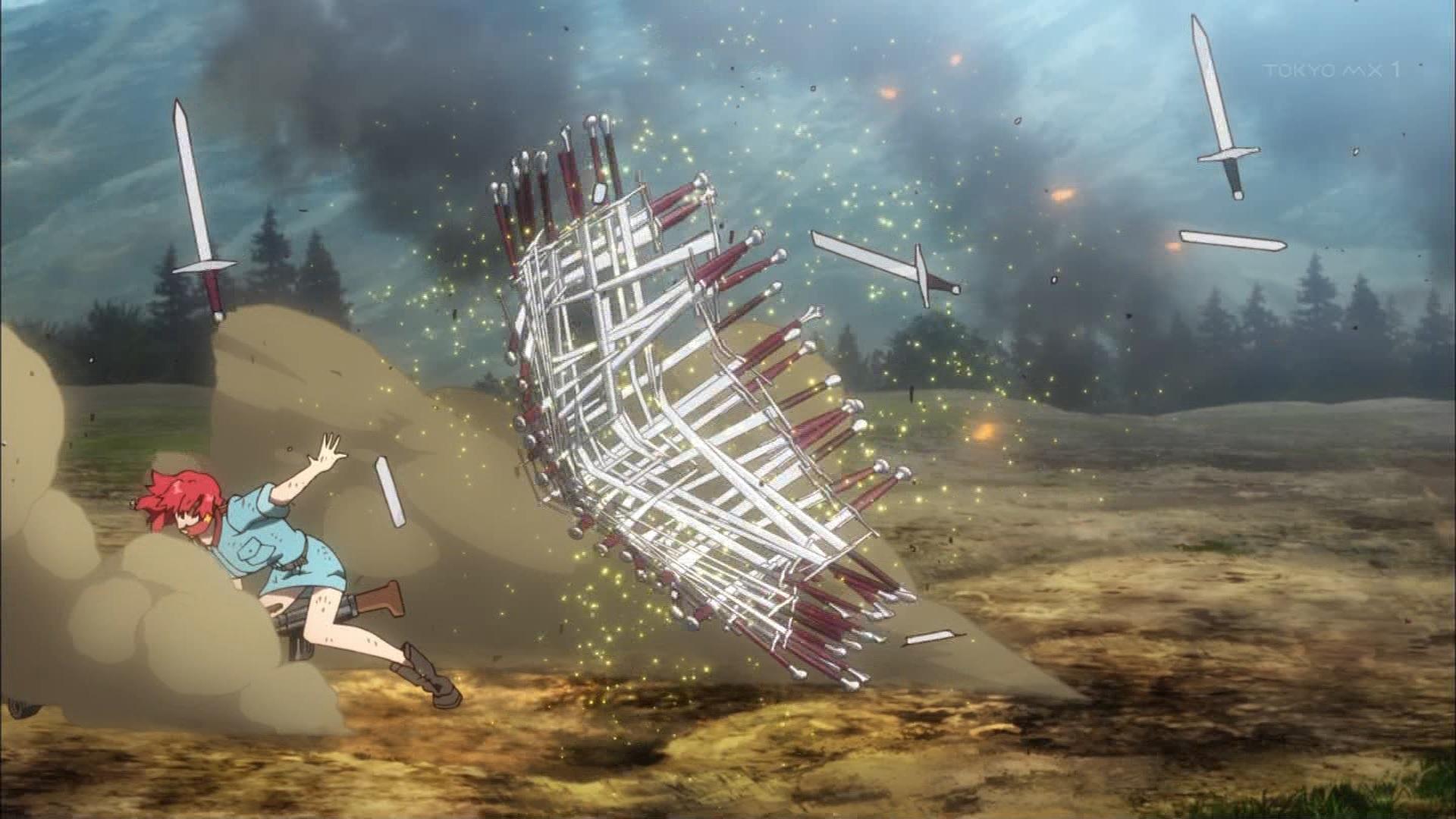 砲弾を剣の盾で防ぐイゼッタ(第3話)