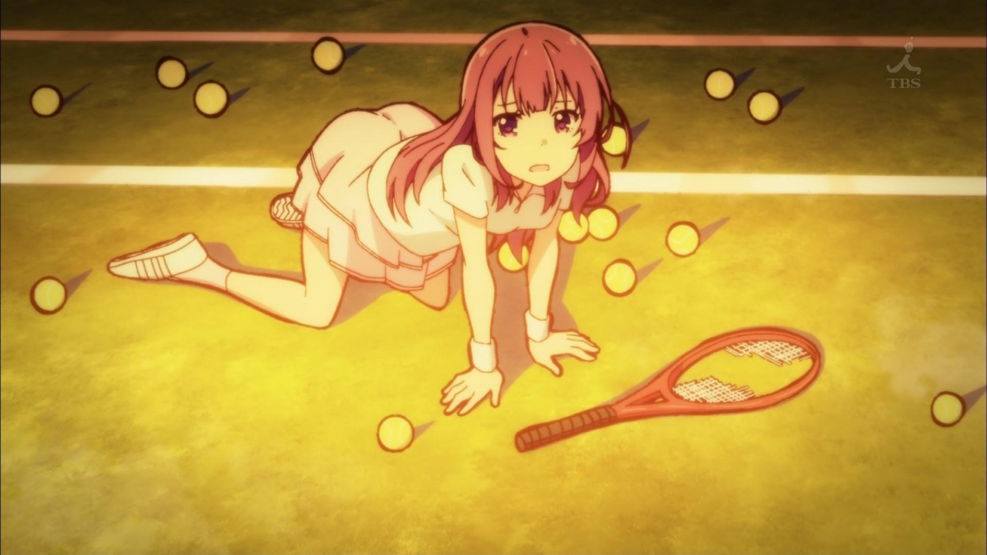 テニスウェアの烏丸千歳(第10話画像)