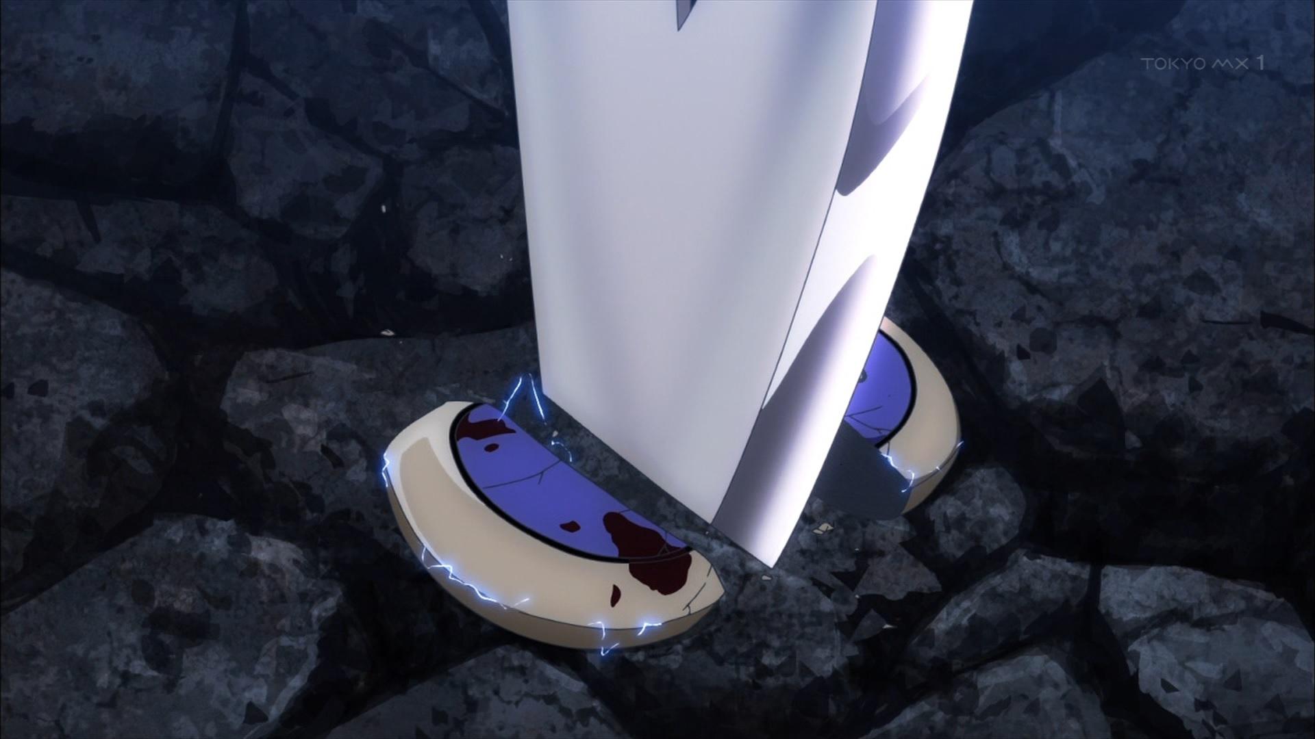 斬られるマスター用端末(第12話画像)