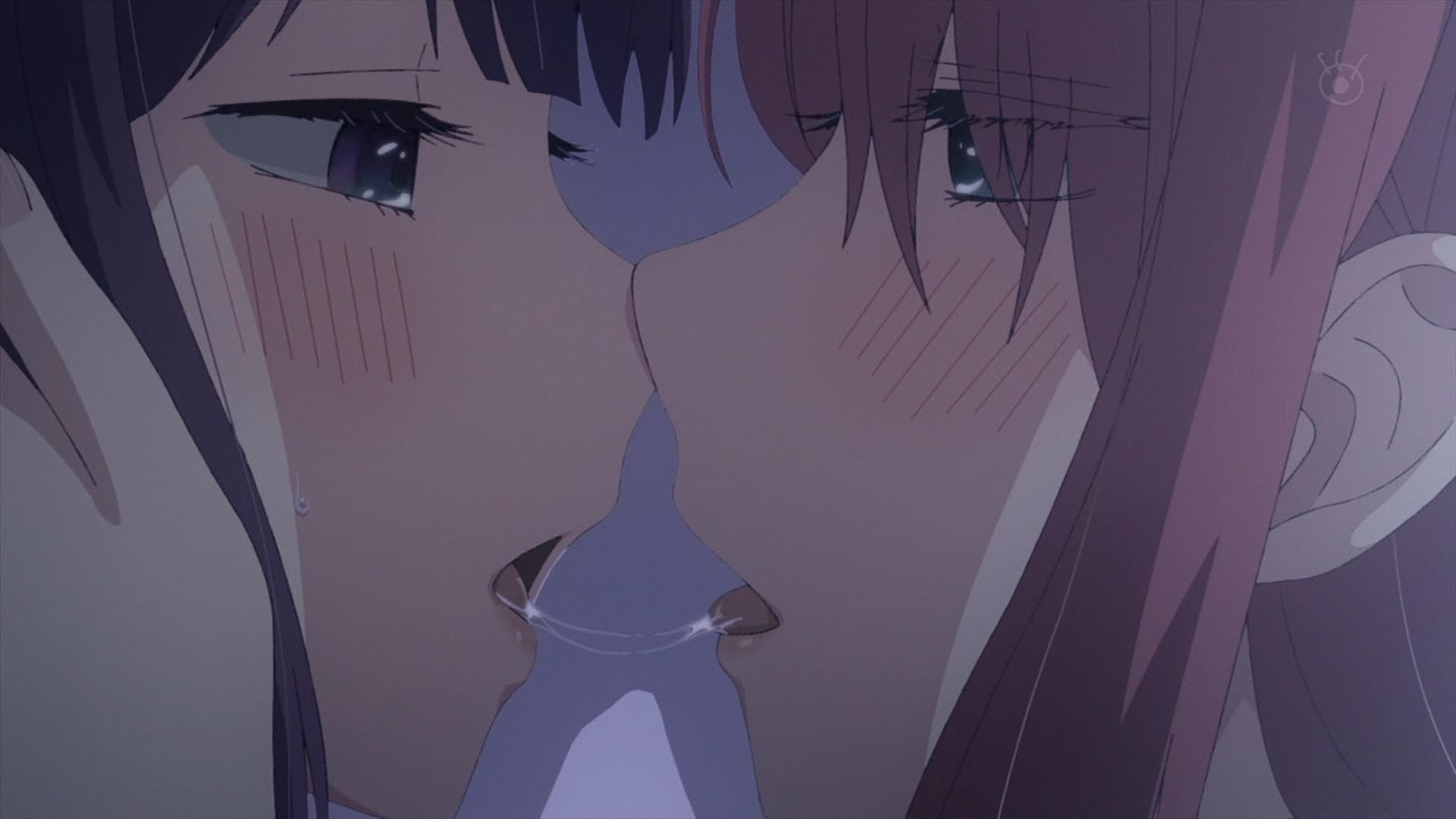 安楽岡花火と絵鳩早苗のキス(第3話画像)