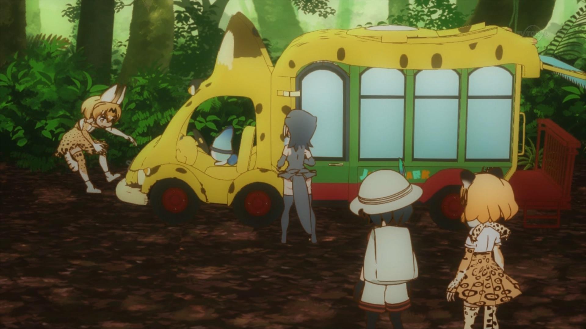 バスに轢かれるサーバル(第3話画像)