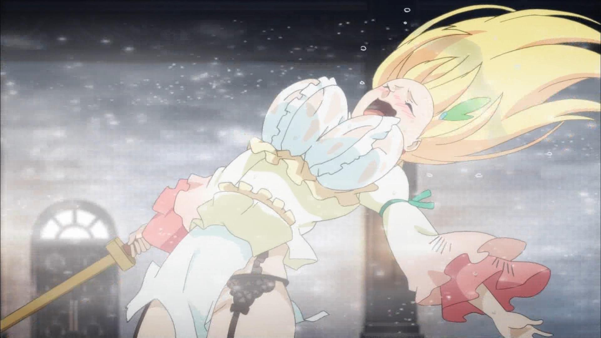 氷魔法をかけられるダクネス(第4話画像)