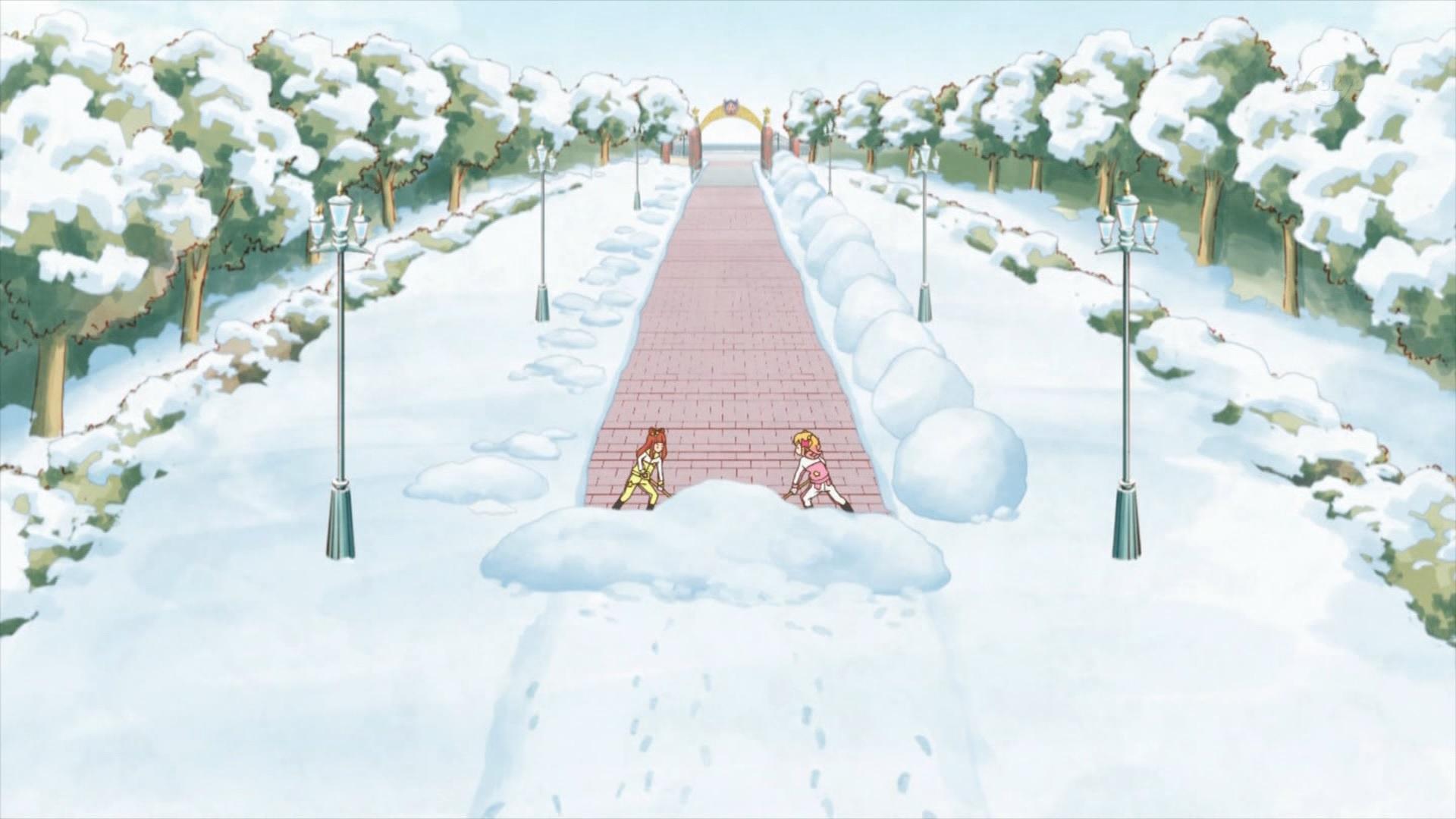 雪かきする虹野ゆめと早乙女あこ(44話画像)