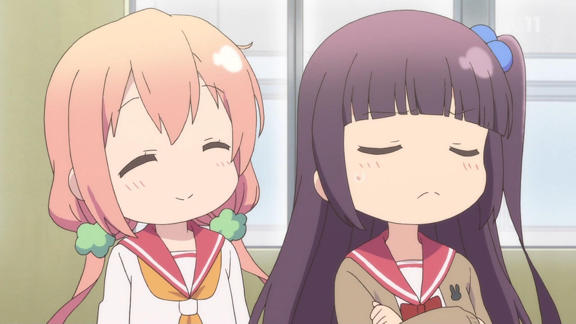桜木ひな子と中島ゆあのSDキャラ(ひなこのーと3話画像)
