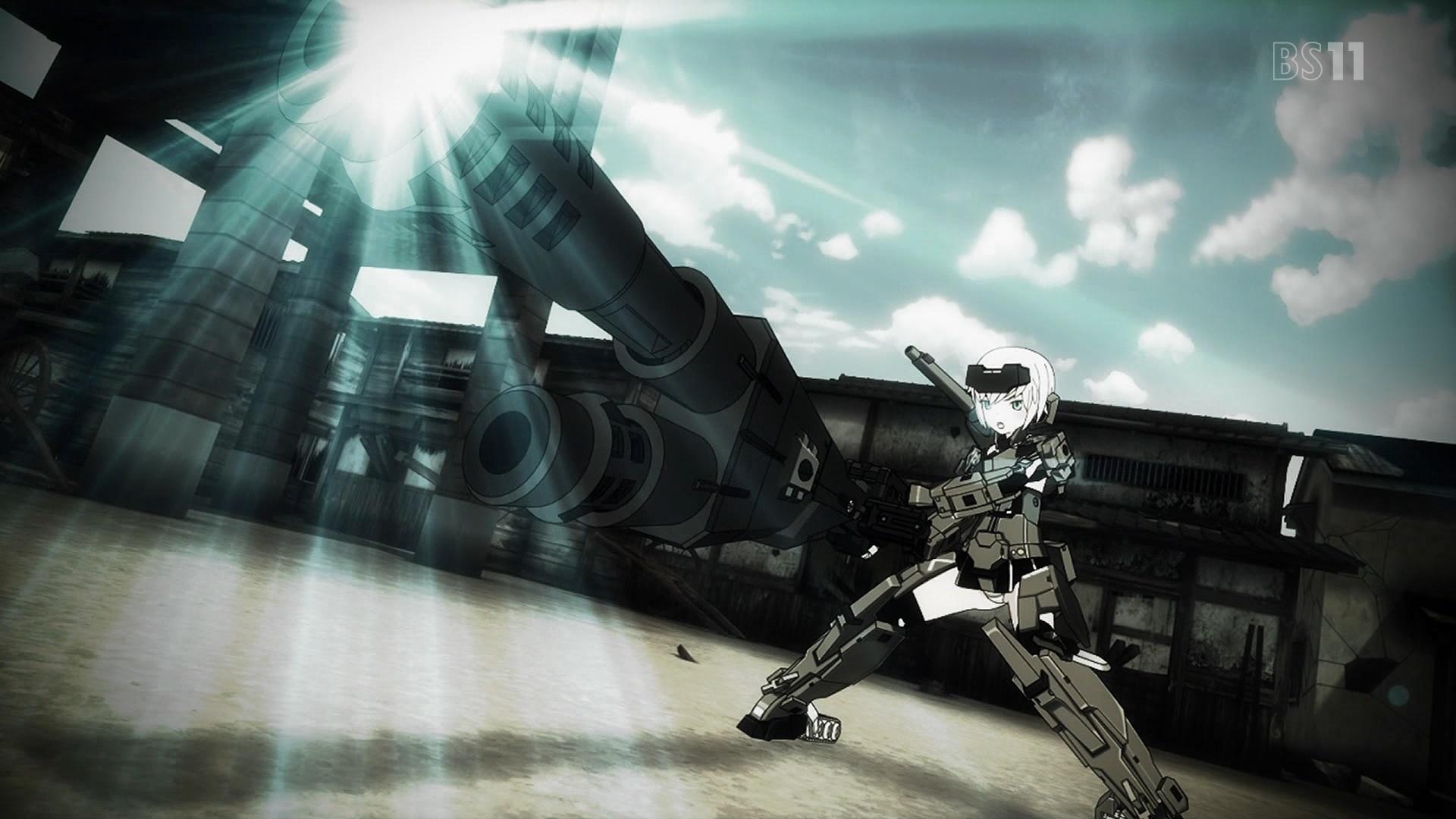 轟雷の武器(フレームアームズ・ガール第4話画像)