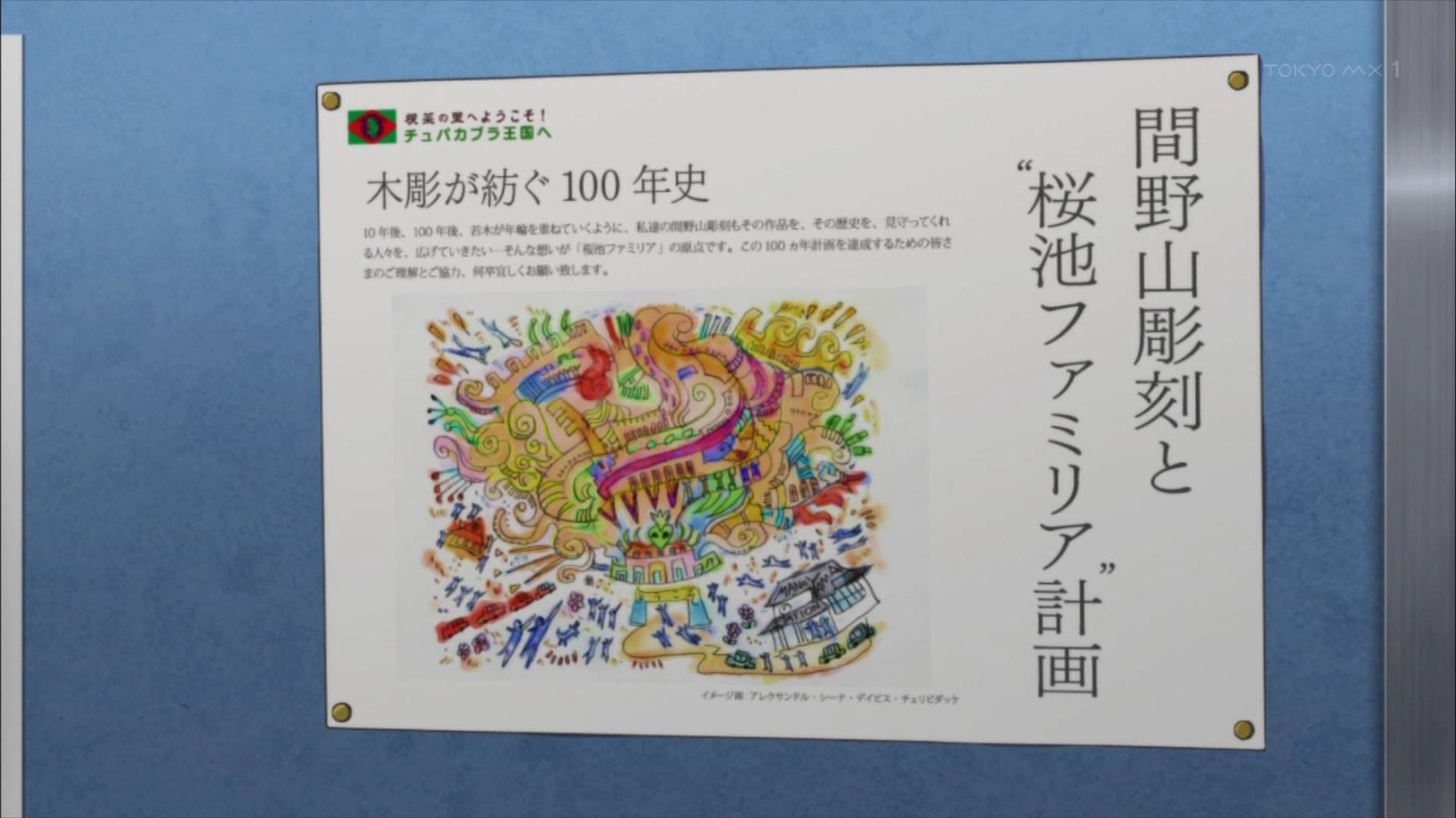 間野山彫刻と桜池ファミリア計画(サクラクエスト5話画像)