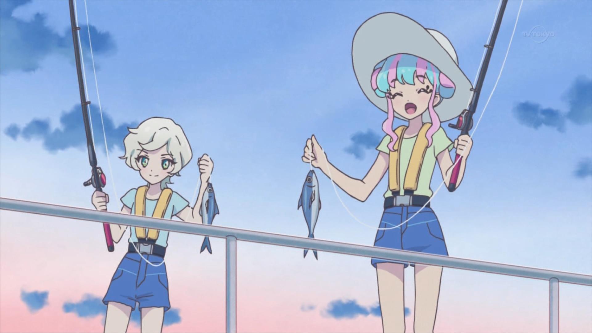 釣りをする騎咲レイと花園きらら,アイカツスターズ59話より