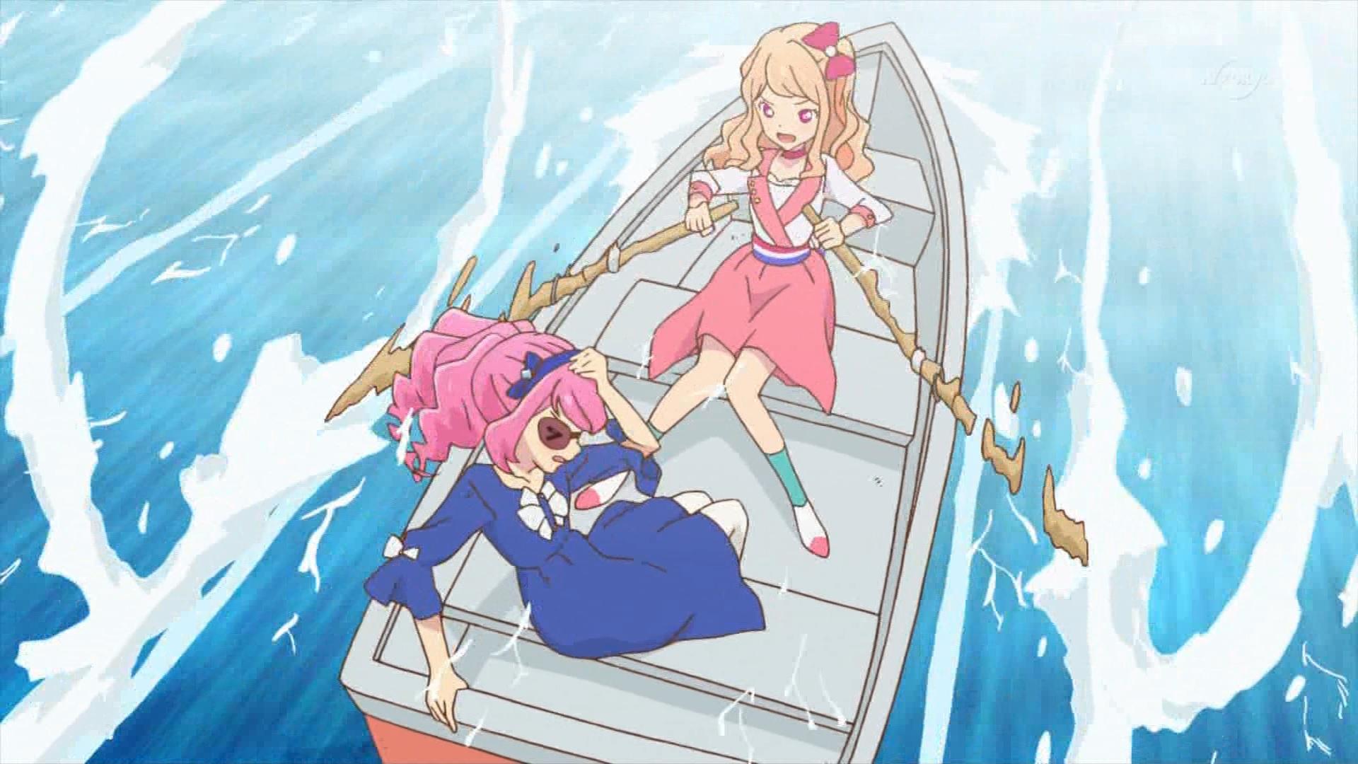 ボートに乗る桜庭ローラと香澄真昼,アイカツスターズ61話より