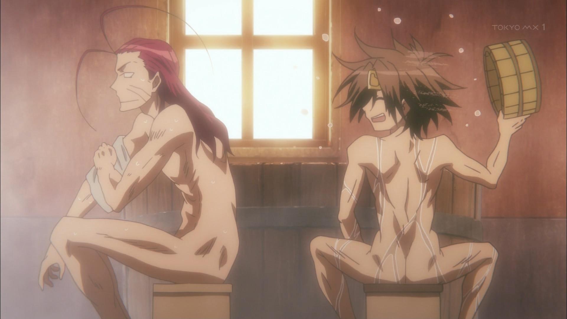 風呂に入る沙悟浄と孫悟空