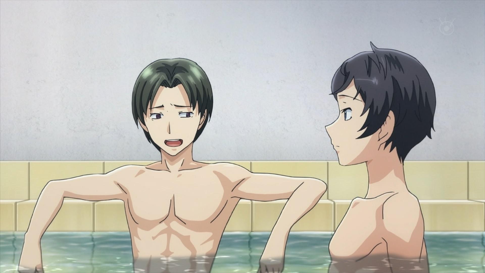 風呂に入る丸山レイジと坂井知季