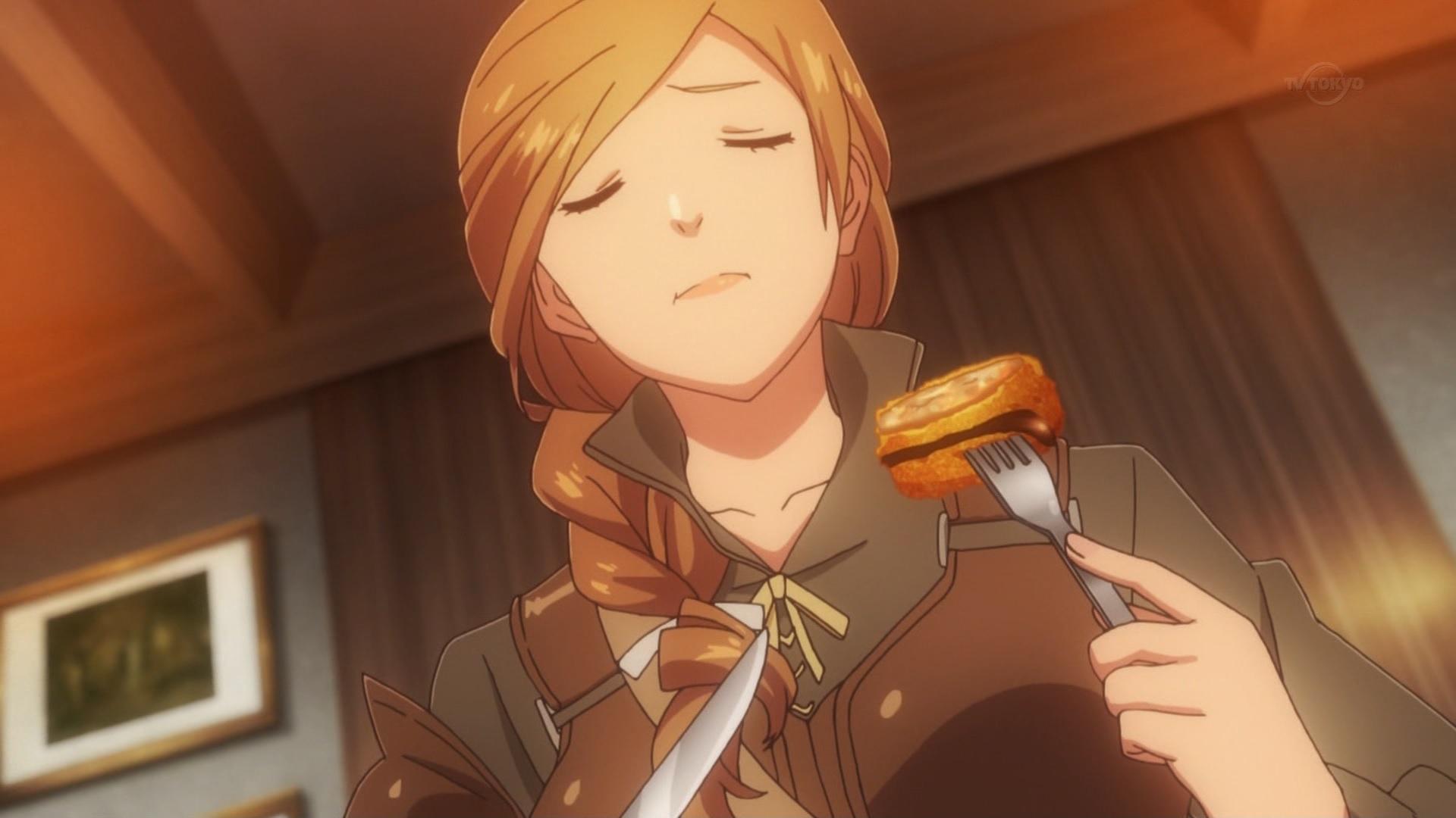 メンチカツを食べるサラ