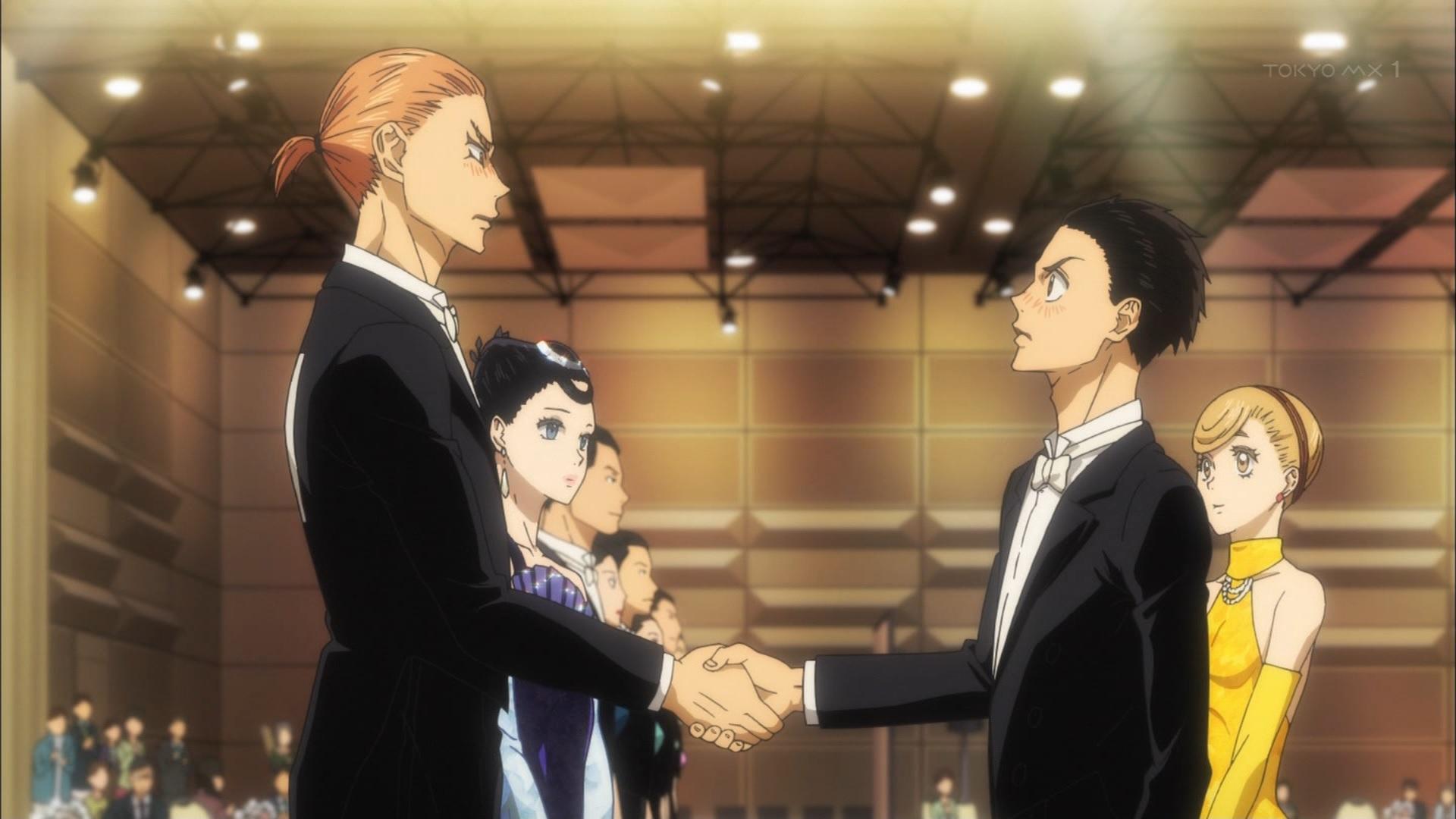 赤城賀寿と富士田多々良の握手