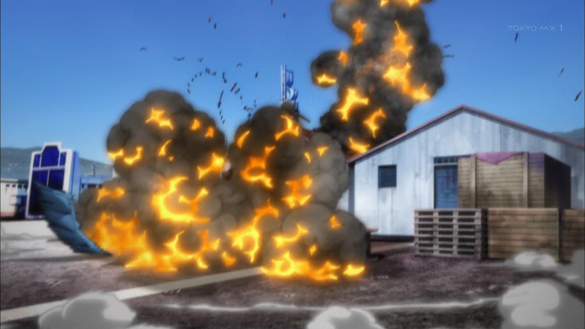 爆発する建物