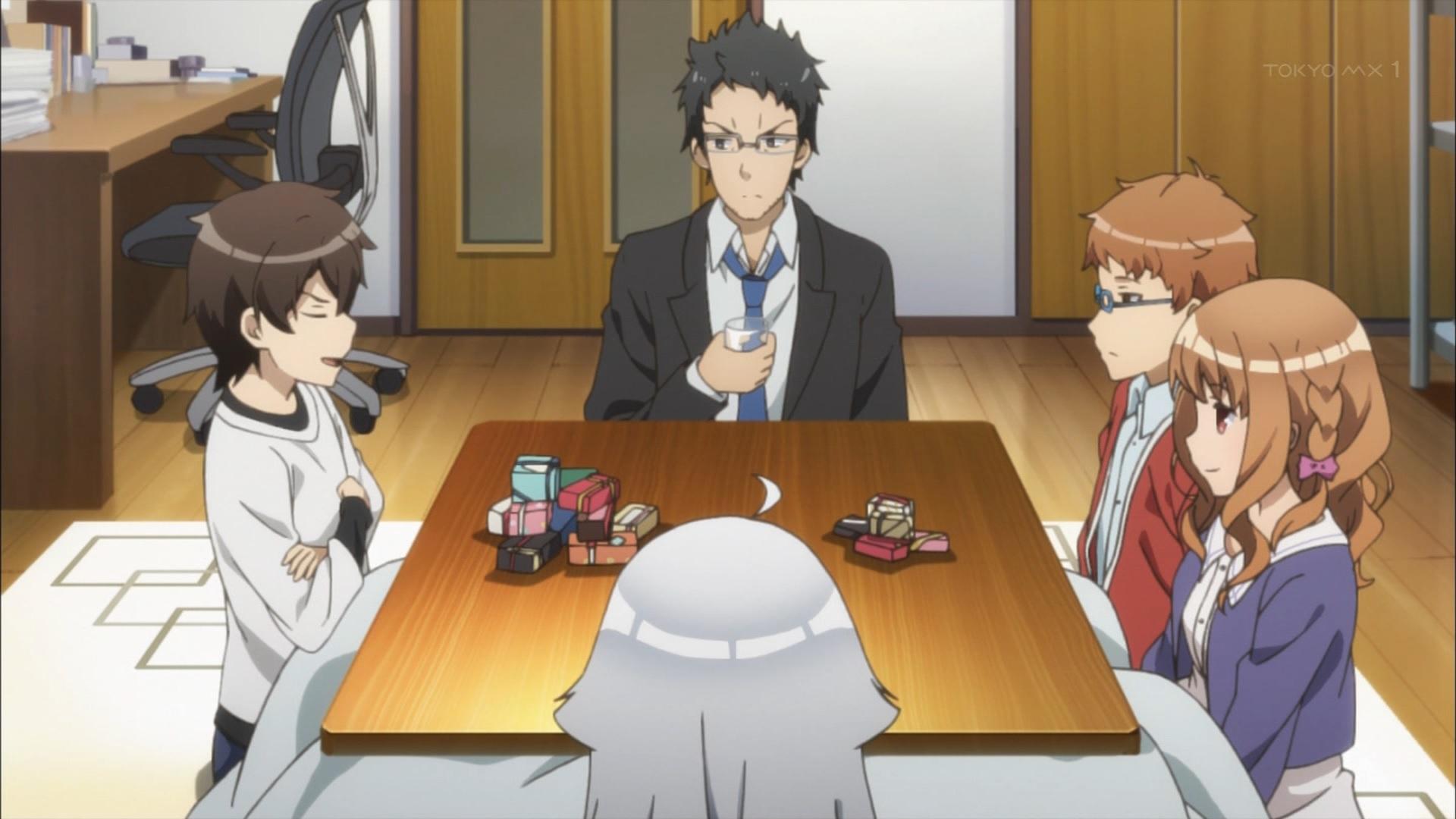 バレンタインチョコを貰う羽島伊月と不破春斗