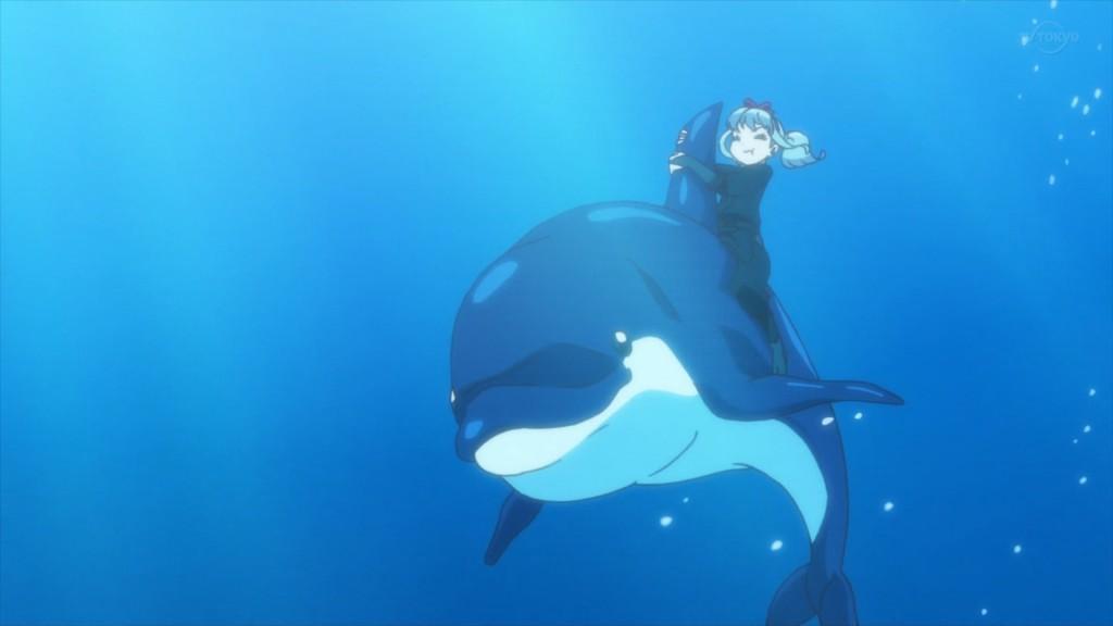 イルカに乗る姫石らき