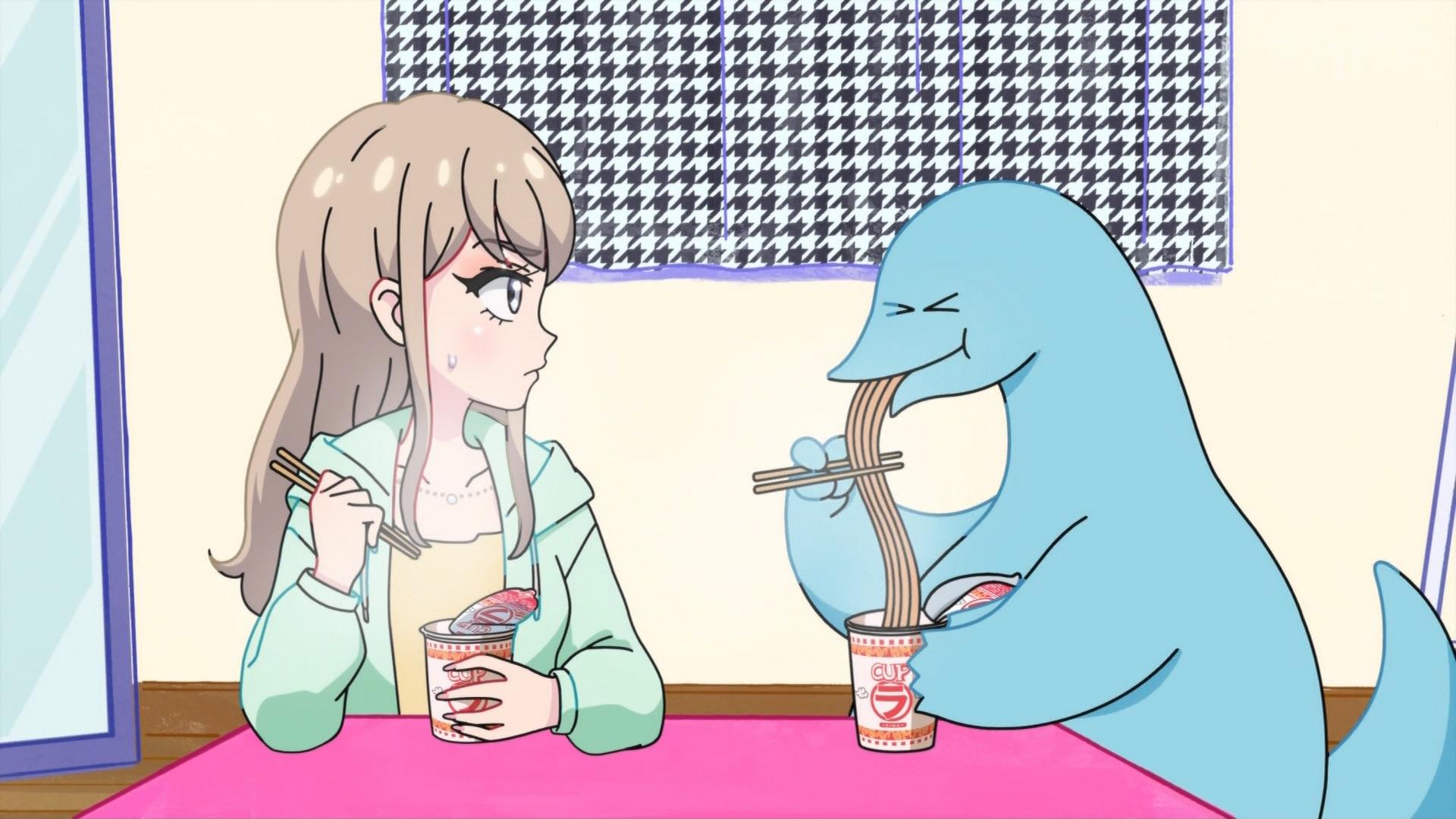 楓とラーメンを食べる恐竜