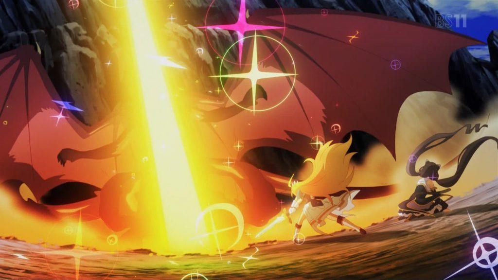 ドラゴンを倒すペコリーヌ