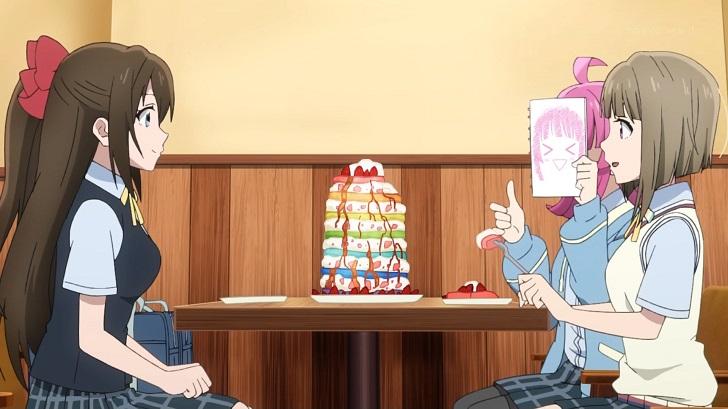 パンケーキを食べる桜坂しずくと中須かすみと天王寺璃奈